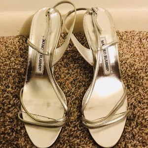 Manolo Blahnik silver shoes size 37